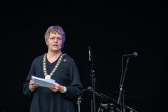 Borgmester Trine Græse holder tale om fremtidsplanerne for Gladsaxe. Foto:Karen Bjerggaard