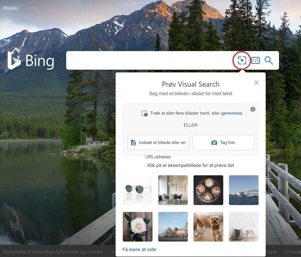 Fra Bing kan du nu også foretage billedsøgning ved klik på det lille symbol i den røde cirkel.