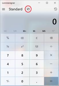 Klik på det lille symbol i den røde cirkel for at få lommeregner-appen til at blive oven på vinduet.