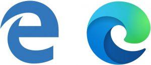 Gammelt og nyt logo for Microsoft Edge.