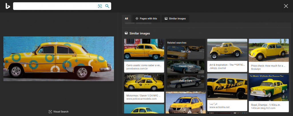 Søgning via søgefeltet med et udsnit af et foto. Dette var, hvad Bing kunne finde af lignende billeder på nettet.