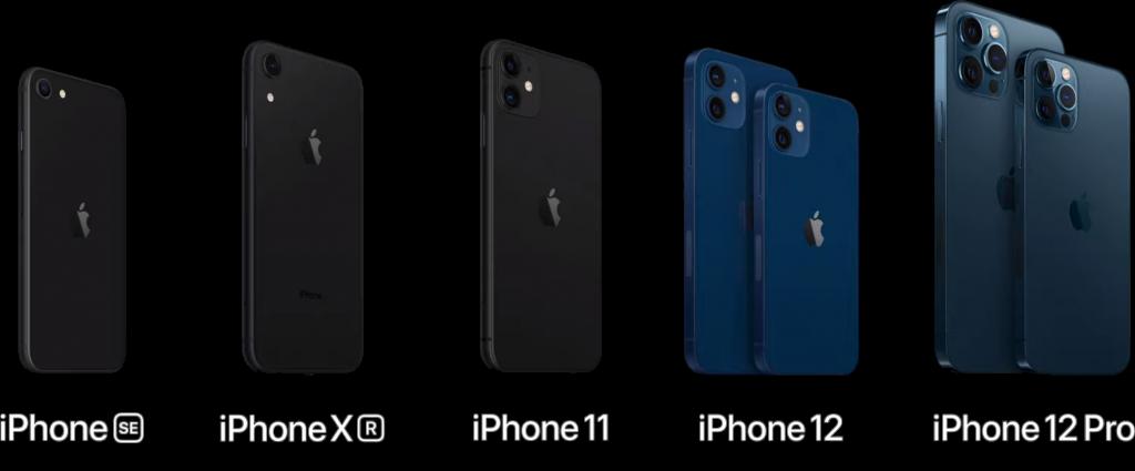 Alle iPhone-modeller tilgængelige i 2020. Foto fra Apples præsentationsvideo.