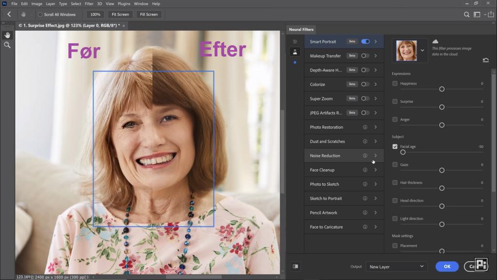 Den nye funktion i Photoshop 2021: Intelligent portræt.