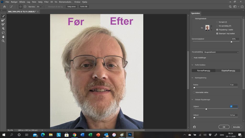 Vælg og maskér i Photoshop 2021 - inklusiv selektering af hår.
