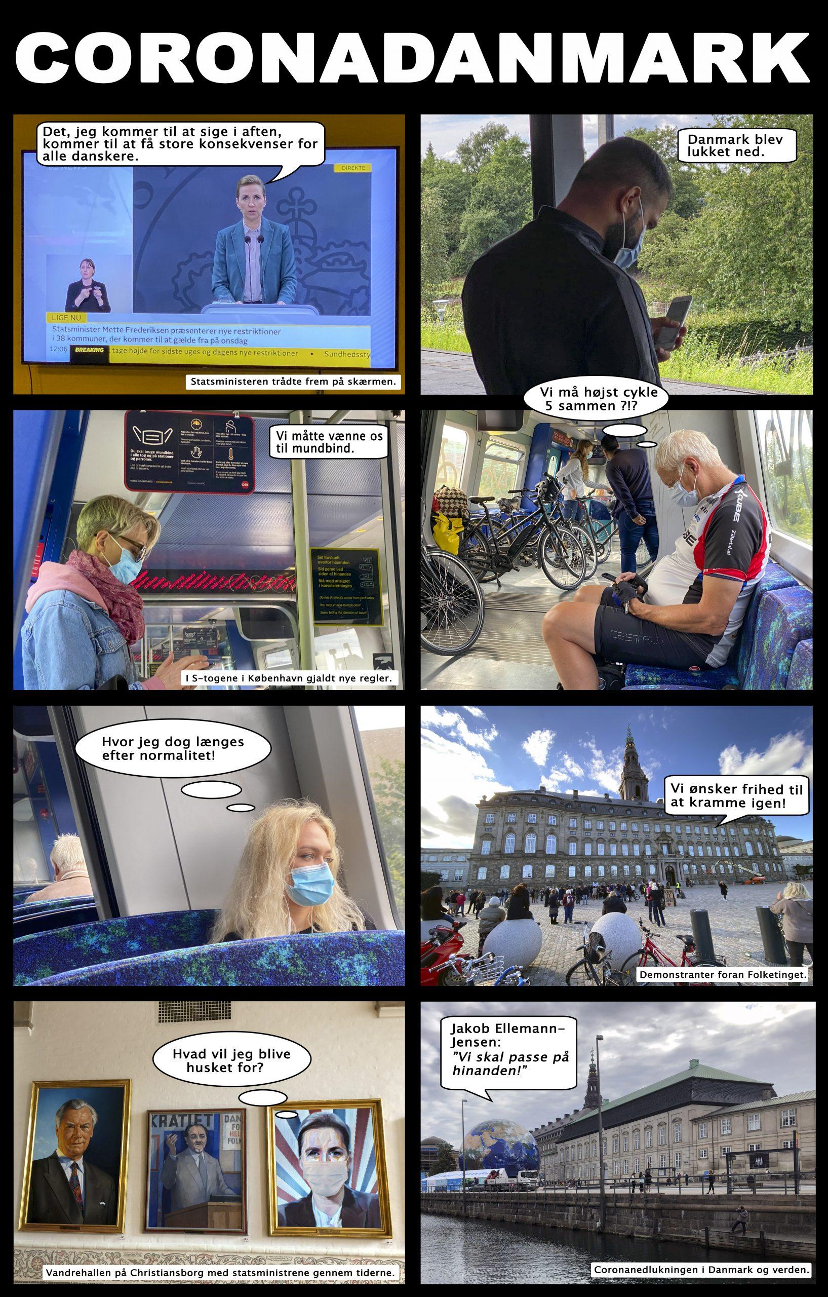 Fortællende fotoserie med bobletekster af Lars Laursen - lidt om coronatiden - set fra et samfundsmæssigt synspunkt. Kan forstørres.