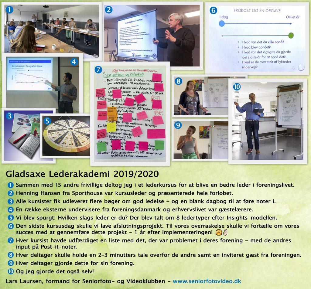 En fotoserie om Lars Laursens deltagelse i et lederkursus for frivillige på Gladsaxe Lederakademi i 2019/2020 – her med tekst på grøn baggrund. Kan forstørres.