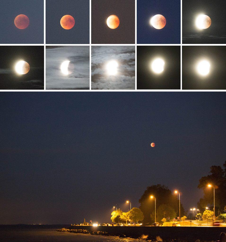 Fotoserie: Optaget af Reza Pakzad. Måneformørkelse og blodmåne den 27. juli 2018 ved Klampenborg Strand. Fotoserien er sat sammen af Lars Laursen.
