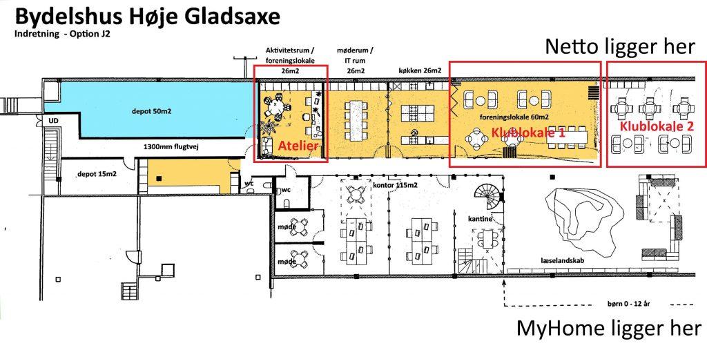 Oversigt over Bbiliotek+ med klubbens lokaler markeret med rødt. Grafik: arkitektfirmaet NOAA og Lars Laursen.