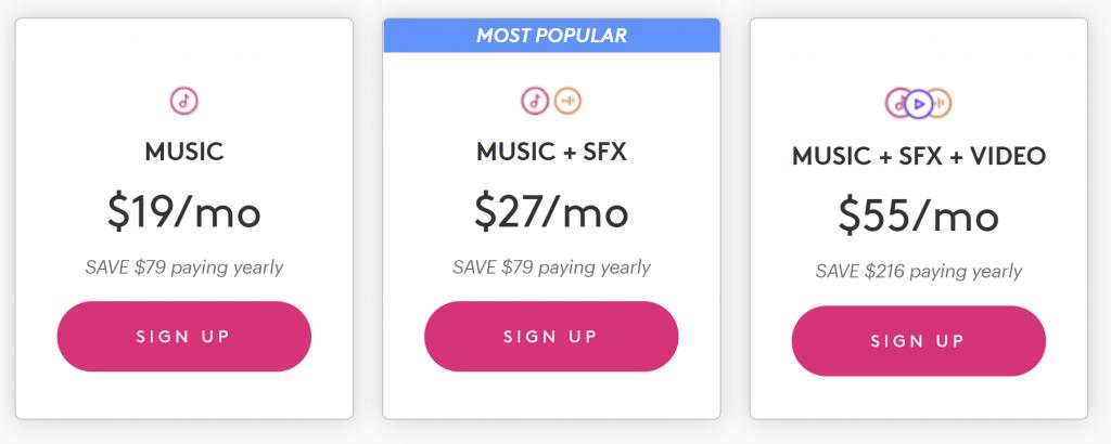Tre forskellige abonnementer, der kan betales per måned eller år: Musik, musik & lydeffekter eller musik, lyd & videoklip. Abonnementet kan ophæves når som helst.