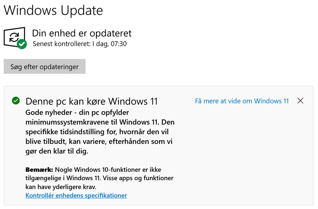 Sådan viser Windows Update, at din PC er klar til at opgradere til Windows 11.